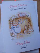 Personalised Handmade Carte de Noël A5 mousseux Peter Rabbit Fille ou Garçon