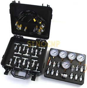 Hydraulic Pressure Gauge Test Kit With 5 Gauges, 5 Test Hoses, 27 Couplings Tool