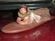 Original Antique All Bisque hula tied on orig. surfboard. Hawaii Hawaiiana