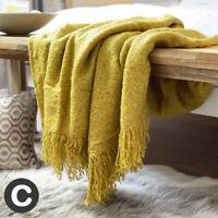 Luxury Mohair Woollen Feel Ochre Mustard Yellow Large Bed Sofa Blanket Throw