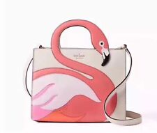 NEW WITH TAGS KATE SPADE BY THE POOL FLAMINGO SAM SWAN HANDEL PINK SUEDE TOTE