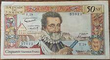 Billet de 50 nouveaux francs HENRI IV 3 - 9 - 1959 FRANCE Y.29 (cf photos)