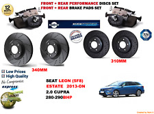 FOR SEAT LEON 2.0 ST CUPRA 13- FRONT & REAR PERFORMANCE BRAKE DISC SET + PAD KIT