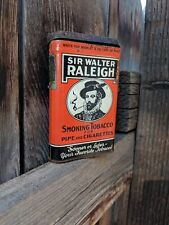 VINTAGE SIR WALTER RALEIGH PIPE & CIGARETTES SMOKING TOBACCO TIN w/ TAX STAMPS