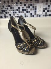 DKNY Italy T-Strap Wedge Sandals Black & Bronze Jute Heel Size 5.5