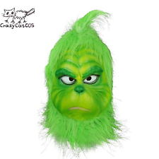 The Grinch Mask With Fur Cosplay Costume Mask Christmas Outfit Mask