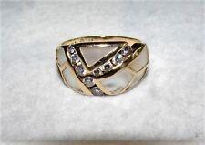 14K Kabana Inlay Mother of Pearl Ring w/ 0.42Cttw Diamonds Good/I/VS2-SI1 Sz8.75