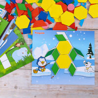 250Pcs Children Wooden Pattern Blocks Set Educational Shape Puzzle Wooden Jigsaw