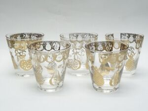 Set of 5 Culver Florentine Gold Fruit Double Old Fashioned Cocktail Glasses 4""