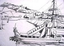 "Erich Hartmann 1886-1974 Hamburgo/carbón ""puerto de Licata (sicilia)"" 1924"
