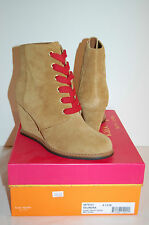 New $298 kate spade New York Saundra Honey Suede Red Lace 6.5 Wedge Bootie Boot