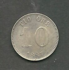 SWEDEN,  1887,  10 ORE,  SILVER,  CHOICE ALMOST UNCIRCULATED,  KM#755