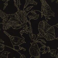 Morning Glory Humming / Blue Bird Cotton Quilt fabric Timeless Treasures Black