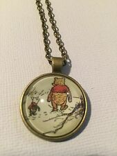 Vintage Pieces - Bronze Necklace Glass Cameo - Winnie The Pooh (1)
