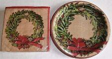 CHRISTMAS Paper Plates & Napkins  BURLAP WREATH
