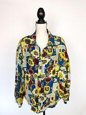 Vtg FUDA International Womens 100% Silk Bomber Windbreaker Jacket Sunflower Sz L
