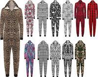 New Womens Animal Aztec Zebra Print Ladies Playsuit Long Hooded Jumpsuit