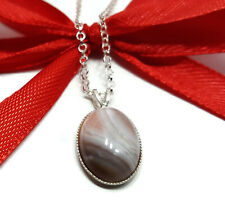 Botswana Agate Pendant Necklace, Gemstone Cabochon Sterling Silver 18 inch Chain