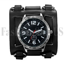 Black Brown Wide Genuine Leather Punk Style Watch Straps Men's Cuff Wristwatch