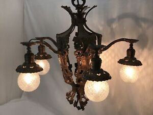 Antique Vtg Chandelier Arts & Crafts Gothic Deco Hanging Ceiling Light 'Copper'