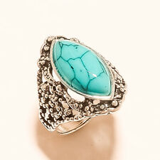 Turquoise Gemstone 925 Sterling Silver Handmade Jewelry Ring  US Size 6.75 4271