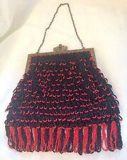 Vtg Red & Black Flapper Purse Handbag Evening Formal Bag Antique? Hand Beaded