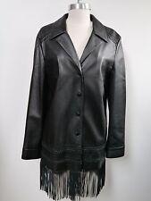 ESCADA black lambskin leather fringe bottom jacket size 42