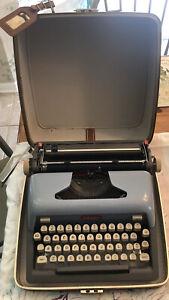 Vintage Blue Royal Futura 800 PortableTypewriter w/Leather Case, Key, LuggageTag