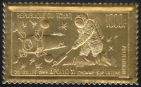 Chad 1969 MNH Sc C60 Apollo 11.Embossed on Gold Foil.Neil Armstrong on Moon **