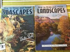 2 Pcs Walter Foster Art Instr. Seascapes & Landscapes 1960s