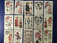 15 Classic Children Antique Greetings Postcards Embossed For Collectors w Value