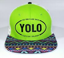 YOLO Captiva Island Adjustable Snapback Hat You Only Live Once Cap Green Tribal