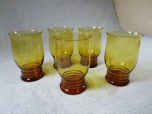 5 Beautiful Quality Vintage Amber Glass Drinks Goblets A D Copier Leerdam