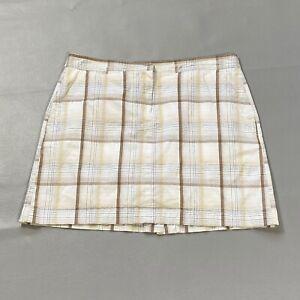Izod Golf Skort Womens Size 10 White Brown Plaid Skirt Pockets Casual Stretch