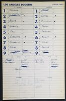 LA DODGERS GAME USED DUGOUT LINE-UP CARD 5/30/81 VS REDS GEORGE FOSTER HR #237
