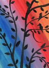 ACEO Original Card Colorful Bird Modern Art Trees Leaves Acrylic 100% Hand Paint