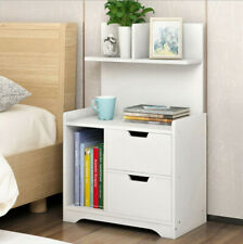 Small Bedside Table Night Cabinets With 2 Drawers Shelf Storage Chest End White
