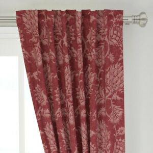 """Floral Damask Vintage Merlot Historic French 50"""" Wide Curtain Panel by Roostery"""