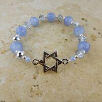 Stretch Crystal Bracelet Silver Magen David, Judaica, Star of David