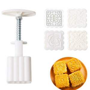 Hand Pressing Square DIY Baking Mold Flowers Moon Cake Mold Pastry Moon Cake