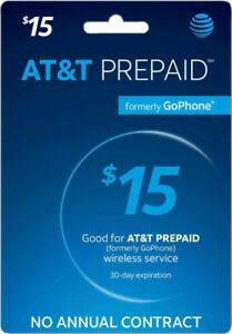 AT&T - AT&T Prepaid $15 Refill Top-Up Prepaid Card , Card  PIN / RECHARGE  fast