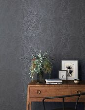 Charcoal & Metallic Detailing Textured Tropical Leaf Wallpaper - Textured - 10m