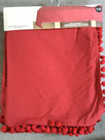 NEXT TABLECLOTH IN DARK RED WITH POM POM TRIM IN XL RECTANGULAR COTTON - BNWT