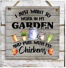 Wall hanging sign/picture Gardening time and chickens lovers
