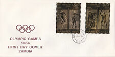 Zambia (1912) - 1984 OLYMPICS Gold stamps on FIRST DAY COVER