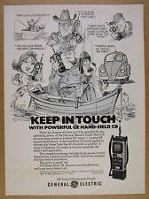 1978 GE General Electric Hand-held CB Radio cartoon art vintage print Ad
