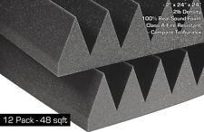 "Soundproofing Studio Acoustic Absorption Foam Wedge Panels 2""x24""x24"" - 48 SqFt."