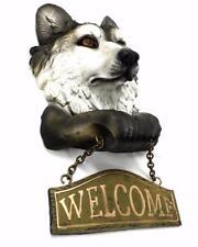 Grey Wolf Figural Welcome Sign Lodge Decor Cabin Door Art