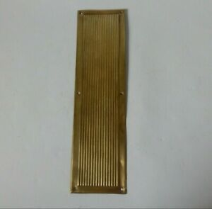 1x Vintage Ribbed Thin Brass Door Finger Push Plate #1624