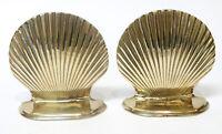 Brass Sea Shell Seashell Bookends Mid Century Modern Hollywood Regency